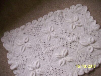 Hand Knitted Baby Shawl/Cot/Pram/Blanket or for Reborn white