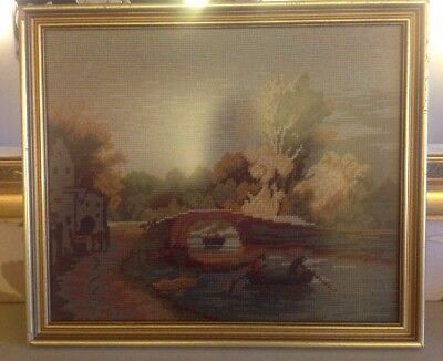 The Bridge By G Rembrandt Cross Stitch/wool Art/tapestry Framed
