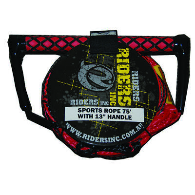 """Riders Inc Water Ski Kneeboard Tow Rope with EVA 13"""" Handle RED"""