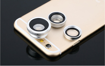 Silver 3 in1 Fisheye Wide Angle Macro Clip-on Camera General Mobile Phone Lens