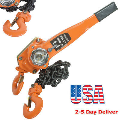 From USA 1.5 Ton 3000lb Capacity Chain Lever Block Hoist Come Along Ratchet Lift