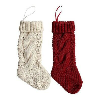 Chic Christmas Gifts Candy Bag Tree Ornament Stocking Knitted Sock Hanging Decor