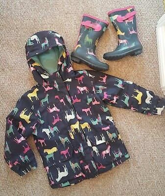 Girls Joules horse print fleece lined raincoat 6 years and matching welly boots
