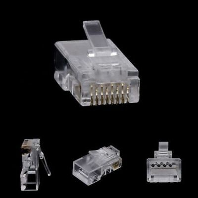 10Pcs RJ45 8-Pin Connector CAT6 Network Cable Modular Ethernet Crystal Plugs