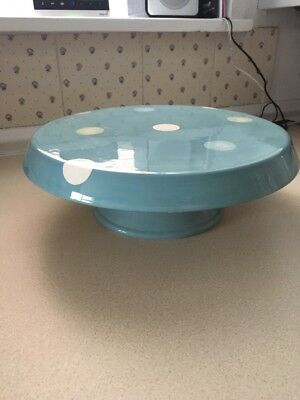 LAURA ASHLEY HAND PAINTED CAKE STAND Blue Spotty