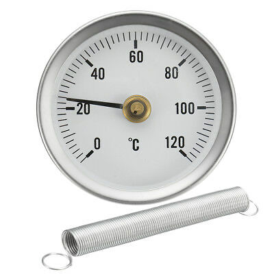Hot Water Pipe Thermometer 0-120°C 63Mm Clip On Dial Temperature Gauge & Spring