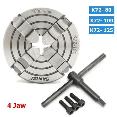 4 Jaw K72 Independent Lathe Chuck Self Centering 80/100/125mm