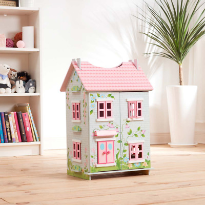 Kids Sweet Pea Cottage Wooden Dollhouse 7 Pieces of Furniture 2 Stores Rooms