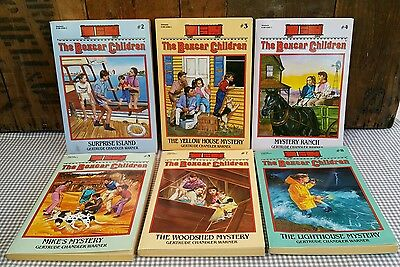 The Boxcar Children - 6 books - # 2 3 4 5 7 8 - Warner - paperbacks