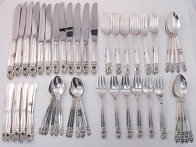 International Royal Danish 64pc Sterling Silver Flatware Set 12 Place Settings