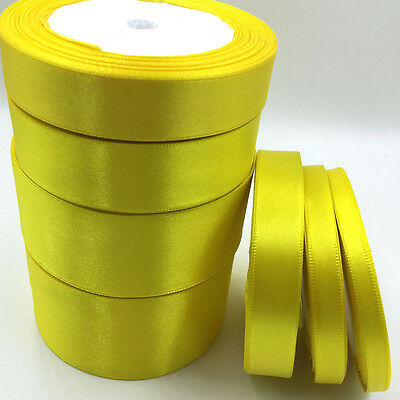 D-yellow Single Face Satin Ribbon Wholesale Gift Wrapping Christmas ribbons