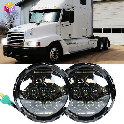 2pcs 7 inch Round Black LED Projector Headlights Fit For Freightliner FL112 JK