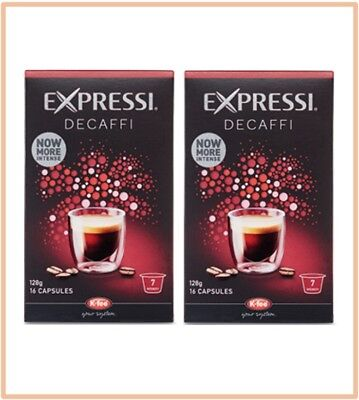 32 Capsules (2 boxes) Aldi Expressi Coffee Pods Decaffi - Intensity 7
