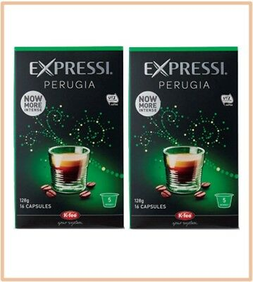 32 Capsules (2 boxes) Aldi Expressi Coffee Pods Perugia - Intensity 5