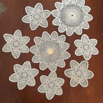 Set Of 8 Pretty Vintage Doilies Small Round Cream Beige Silky Cotton   Crochet