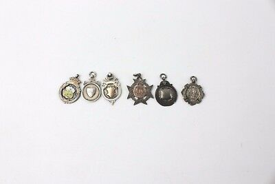 Collection of 6 x Vintage .925 HALLMARKED STERLING SILVER FOBS - 46g