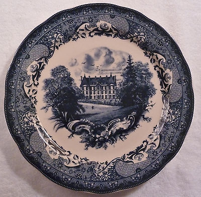 "10"" flow blue transferware decorative plate with mansion and landscape"