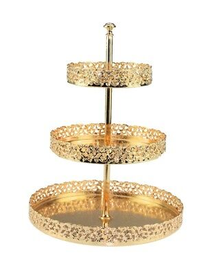 3-Tier Gold Plated Metal Cake Stand Paandan Tray Food Platter Tea Party Tray