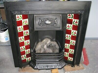 Victorian Edwardian Cast Iron Tiled Fire Place