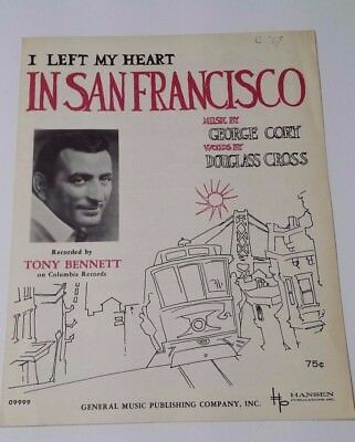 I left my heart in sanfrancisco Sheet Music by George Cory 1954