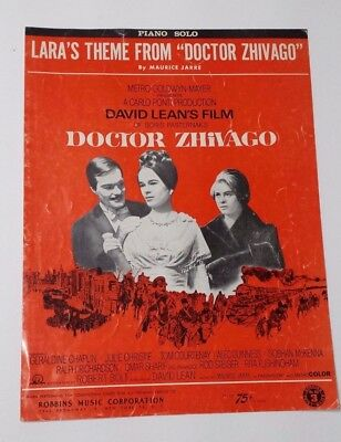 "1965 Lara's Theme From ""Doctor Zhivago"" Piano Solo Music Sheet Jarre"