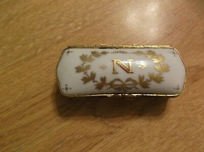 "VINTAGE Limoges France Hinged Trinket Box w/  Gold ""N"" Signed and Marked"