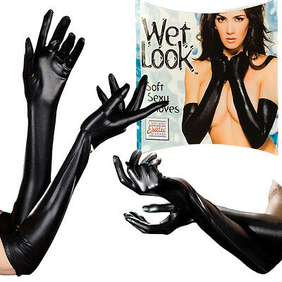 Stretchy Long Black Gloves Elbow Metallic Wet-Look/Faux Latex Dominatrix Costume