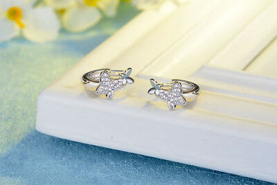 Solid 925 Sterling Silver Butterfly Hoop Circle Huggie Cubic Zirconia Earrings