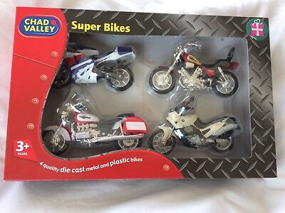 Vintage Chad Valley 4 Super Bikes Die Cast & Plastic in Original Box