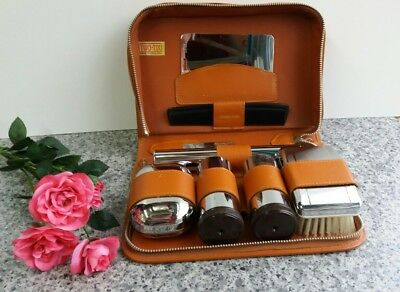 Vintage Men's Two-Tix Leather Vanity Travel Case  Chromium Plated Zip Brown Set