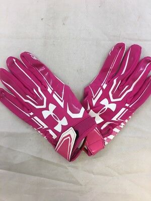 USED Under Armour Fastpitch Batting Gloves Pink/White Women's Sz:L (sb)