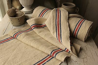 Vintage homespun linen / hemp  striped grain sack material WASHED fabric 14.9Yds