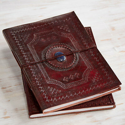 Indra Fair Trade XL Stoned Embossed Leather Photo Album Scrapbook 2nd Quality