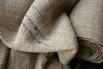 Antique HEMP material Upholstery fabric 15.1 YDS by 23 in WIDE RARE  DARK rustic