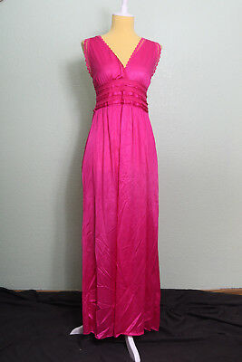 Bliss New York Vintage Pink V Neck Lace Long Full Slip Nightgown Nightie Pin Up
