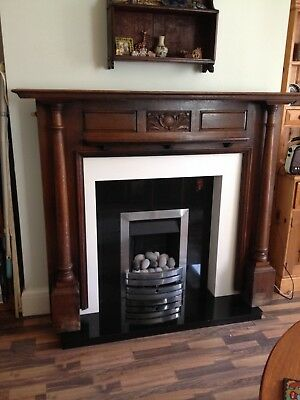 Arts and Crafts inspired Edwardian carved oak mantlepiece fire surround