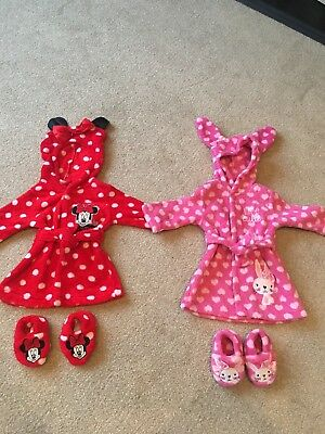 Baby Girl Dressing Gown & Slippers 0-3 & 3-6 Months Bundle Minnie Mouse & Bunny