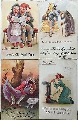 LOT of 4 CYNICUS signed postcards, 1903-7., incl. Scots humour, love & Leap Year