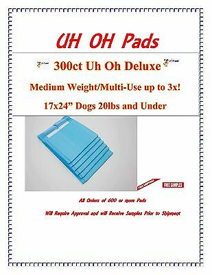 300ct 17X24 3x Deluxe Puppy Piddle Pads Puppy Training Pee Wee Pads FREE SAMPLES