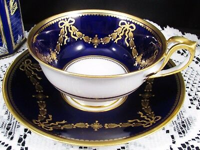 Copeland Spode Raised Gold Bows Swags Cobalt Blue Tea Cup And Saucer
