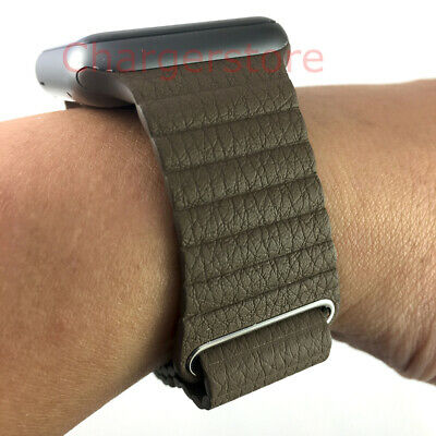 Original Apple Watch Leather Loop Band 42mm taupe khaki Medium Magnetic Strap M