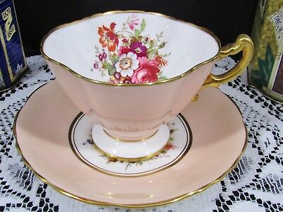 Hammersley Artist Signed Howard Floral Sprays Peach Tea Cup And Saucer