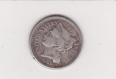 Obsolete Usa Coin-1865 3 Ct Nickle  Nice Color/detail- Free Shipping