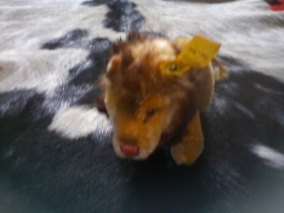 steiff germany leo lion pa 55 with ID silver button n yellow cloth tag