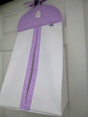 Baby Nursery Nappy Stacker-Lilac/White Spot-100% Cotton - Baby Shower Gift -BNWT