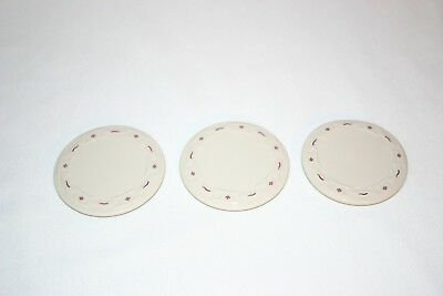 3 Longaberger coasters/cup lids Red Woven Traditions