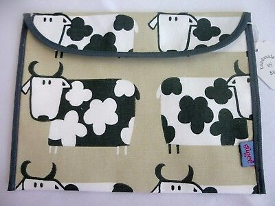 Baby Health Red Record Book Holder 'Moo Cow' Cotton Fabric - Shower Gift - BNWT
