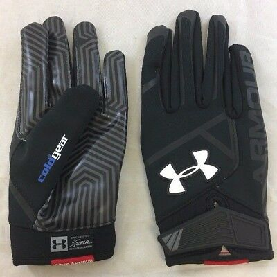 Used Under Armour Men's Playoff ColdGear Football Gloves Black/Gray Sz: S (BS)