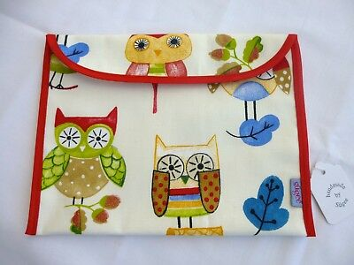 Baby Health Red Record Book Holder 'Ollie Owl' Cotton Fabric - Shower Gift-BNWT