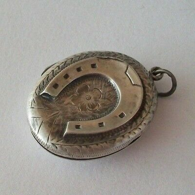 Antique Victorian Sterling Silver Horse Shoe Locket